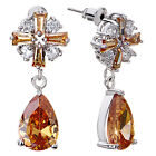 Day Gifts Pugster Clear Topaz Crystal Flower Dangle November Birthstone Drop G88