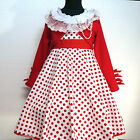 W3122 Reds White Christmas Party Girls Dress + Cardigan SIZE 2,3,4,5,6,7,8,9,10T