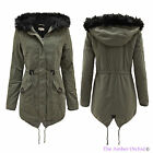 LADIES WOMENS MILITARY FLEECE LINED FUR HOODED ZIP FISHTAIL PARKA JACKET COAT