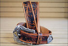 TONY LAMA TOOLED LEATHER WESTERLY RIDE MENS BELT TAN BRONC RIDER MADE IN THE USA