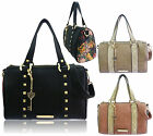 Ladies Leather Style Anna Smith Women Studded Floral Barrel Bag Satchel Handbag