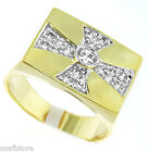 Templar Cross 0.43ct 18kt Gold EP Mens Ring