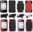 For Huawei Glory H868C Advanced HYBRID KICKSTAND Layered Rubber Case Phone Cover