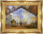 Framed La gare Saint Lazare Claude Monet Painting Reproduction Canvas Art Print