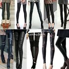 Fashion Sexy Women Stitching Stretchy Faux Leather Tight Leggings Pants New