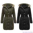 LADIES WOMENS FUR HOODED BELTED PUFFER PADDED QUILTED LONG PARKA JACKET COAT