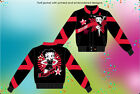 Betty Boop Ladies Jacket Star Biker Logo Twill Jacket Black Red NEW