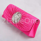 Diamante Satin Clutch Purse Hand bag Bag Evening Party Prom Wedding Bridal #029