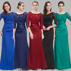 Elegant 3/4 Sleeve Lace Womens Long Black Evening Party Prom Gown Dresses 09882