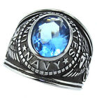 Light Sapphire Blue Stone Navy US Military Silver Stainless Steel Mens Ring