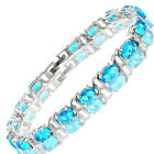 Charming! Aquamarine 18K White Gold Plated Gp Tennis Bracelet Jewelry Gift