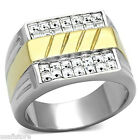 Mens Square Crystal Pave Two Tone Silver Stainless Steel Ring