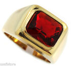 Mens Solitaire Ruby Red Stone Gold Plated Stainless Steel Ring