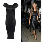 Women Lady's Faux Leather Cap Sleeve Bodycon Strenth Wet Look Midi Party Dress