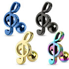 316L Surgical Steel Treble Clef Music Note Tragus/Cartilage Piercing Stud