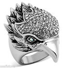 Large Eagle Head Silver Stainless Steel Crystal Stones Ring