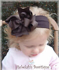 Chocolate Brown Hair Bow Headband OR Clip Thanksgiving Fall Bowband Infant Girls
