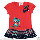 GIRLS FRILLED HEM APPLIQUE CAT TOP AGE  18-24,2-3,3-4,4-5,5-6