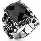 316L Stainless Steel Huge Faceted Black CZ Gothic Style Ring Size 7-14