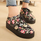 Women Ladies Floral Wedge Lace Up Punk Goth Platform Flat Creeper Shoes Boots