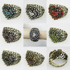ANTIQUE BURNISHED RHINESTONE FILIGREE HEART CUFF BANGLE BRACELET #BR206