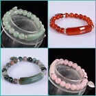 Aventurine rose quartz agate goldstone round beads stretchable bracelet 7""