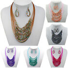Tribal Beads Multi Strand Bib Collar Statement Necklace Earrings Set TZ262