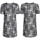 Ladies Monochrome Flocked Velvet Stripe Line Print Heavy Boxy Shift Mini Dress 8
