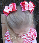 Valentines Day Red Hot Pink Double Ruffle Hair Bow Clips Girls Pig Tail Barrette