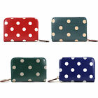 Polka Dot Oilcloth Wristlet Coin Purse Spot Print Zip Around Wallet Card Holder
