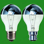 2x Crown Silver Top Reflector Dimmable GLS Light Bulb 100W or 60W B22 E27 lamps
