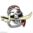 Mens X Large Skull Pirate Two Tone Silver Stainless Steel Ring