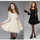 Women Long Sleeve Crew Neck Lace Slim Cocktail Party Formal Mini Dress Fashion
