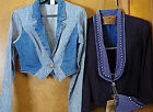Western jacket ladies pinstripe jean XS, or vintage navy w studs Small