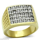 Mens Thirty Crystal Pave 18kt Gold Plated Two Tone Stainless Steel Ring