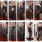 Women Sheer Cut Out Body Stocking Lace Crotchless Tie Bodysuit Erotic Sexy Black