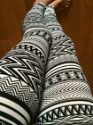 New Black White Aztec Tribal Print Ponti Leggings Thick Polyester S M L Great
