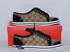 Coach Brodi Signature C Patent Leather Canvas Khaki Mahogany Sneakers Shoes