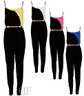 NEW WOMENS LADIES TWO TONE BELTED TROUSER CELEBRITY STYLE DRESS JUMPSUIT 8-14