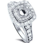 GSI .95CT Double Cushion Halo Diamond Engagement Ring Setting Semi Mount 14K WG