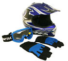 Lunatic Youth MX / ATV Blue Helmet with Graphic, Goggles & Gloves - DOT Approved