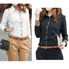 Women OL Business Leopard Shirt Cotton Long Sleeve Tops Blouse Black White