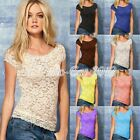 Lace Hollow Out Scoop Neck Short Sleeve Basic Tank Tops Blouse Cami Vest T-Shirt