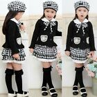 3PCs Girls Baby Kid Outfit Bowknot Top Coat+Plaid Skirt+Hat Dress Clothes SZ 1-6