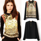 Vintage Women Casual Chiffon Long Sleeve Flower T-Shirt Blouse Tops