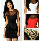 Sexy Womens Sheer Mesh Rivet Sleeveless Flouncing Evening Party Club Slim Dress