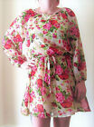 LADIES FLORAL LONG SLEEVED & FULLY LINED CASUAL DRESS TOP WITH BELT SIZES 8-16