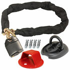 MOTORCYCLE HEAVY DUTY PADLOCK BIKE CHAIN & GROUND/WALL ANCHOR BIKE SECURITY LOCK