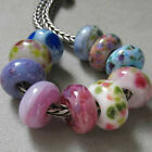 DFJ Lampwork 10 USA Handmade Orphan Glass European Charm Beads fit 4mm Chain SRA