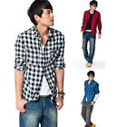 New Fashion Stylish Men Classic Plaid Check Slim Casual Long Sleeve Shirt